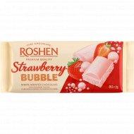 Шоколад белый пористый «Roshen» со вкусом клубники, 80 г.