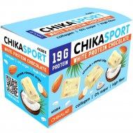Шоколад белый «Chikalab» с миндалем и кокосовыми чипсами, 100 г