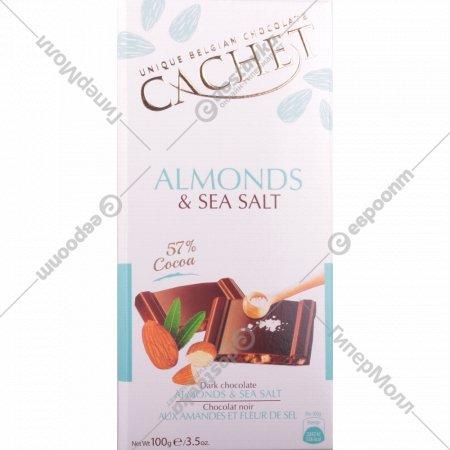 Шоколад горький «Kim'S» с миндалем и морской солью, 100 г.