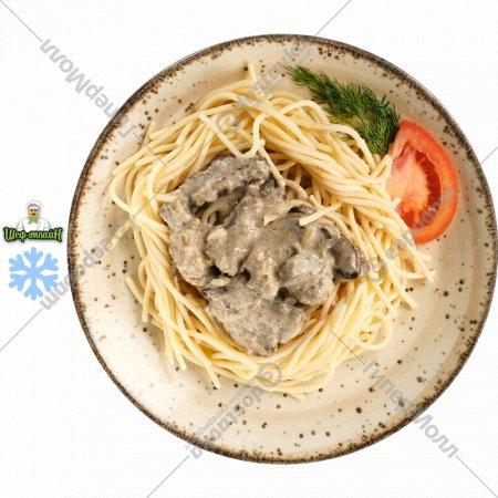 Говяжья печень в сметанном соусе с макаронами, замороженная, 1/150/150
