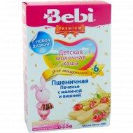 Каша пшеничная молочная «Bebi» с печеньем, малиной и вишней 200 г.