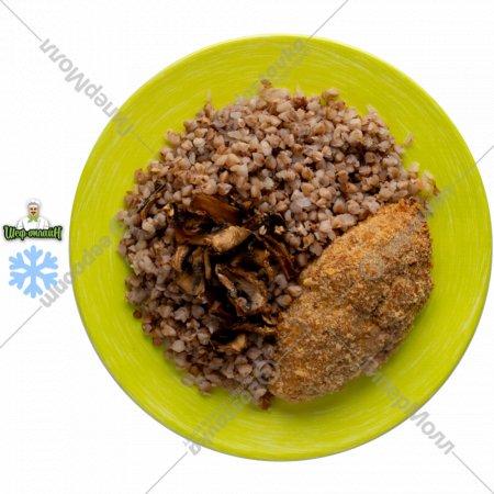 Котлеты рубленые из птицы с гречневой кашей и грибами , 100/150 .