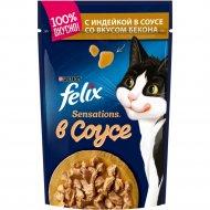 Корм для кошек «Felix Sensations» с индейкой в соусе со вкусом бекона 85 г.