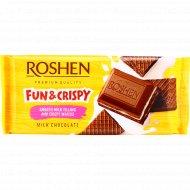 Шоколад «Roshen» с молочной начичинкой и вафлей, 105 г.