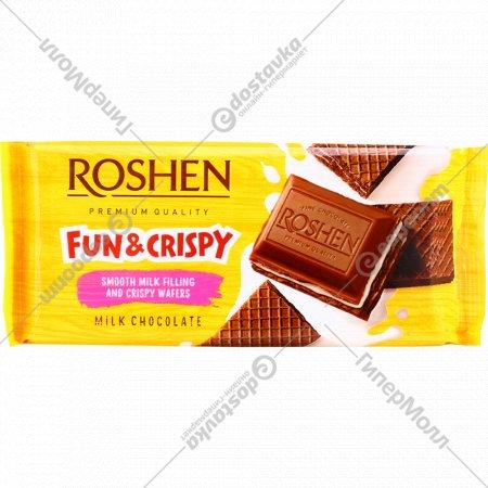 Шоколад «Roshen» с молочной начинкой и вафлей, 105 г.