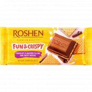 Шоколад молочный «Roshen» с шоколадной начинкой и вафлей, 105 г.