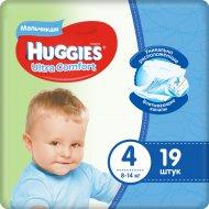 Подгузники«Huggies» Ultra Comfort для мальчиков, размер 4, 8-14 кг, 19 шт