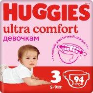 Подгузники «Huggies» Ultra Comfort для девочек, размер 3, 5-9 кг,94шт.