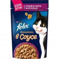 Корм для кошек «Felix Sensations» с уткой и морковью, 85 г