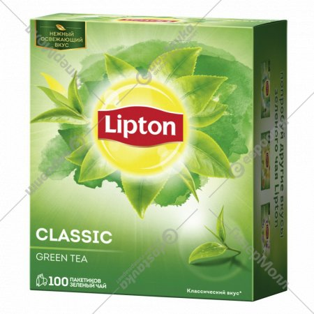 Чай зеленый «Lipton» классический зеленый 100 пакетиков.